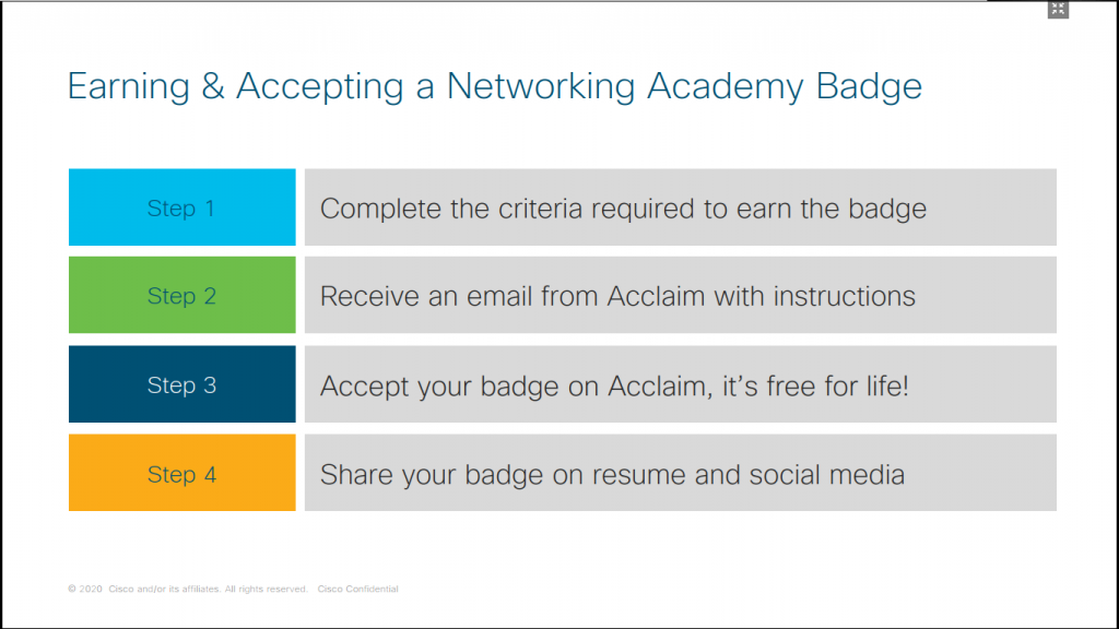 Earning & Accepting a Networking Academy Badge