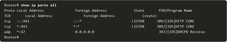 show ip ports all